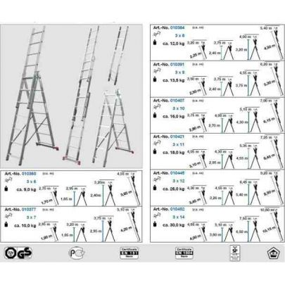 merdevine aluminijumske 3x11 3 10 m corda krause sualati. Black Bedroom Furniture Sets. Home Design Ideas